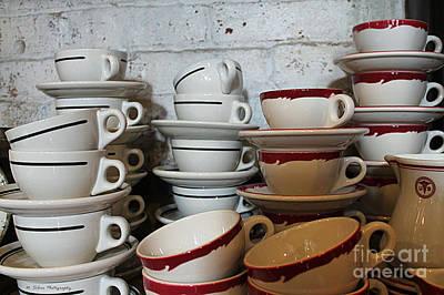 Photograph - Retro Vintage Cellar Tea Cups by Nina Silver