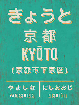 Kyoto Digital Art - Retro Vintage Japan Train Station Sign - Kyoto Green by Ivan Krpan