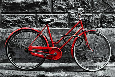 Cycle Photograph - Retro Vintage Red Bike On Black And White Wall by Michal Bednarek