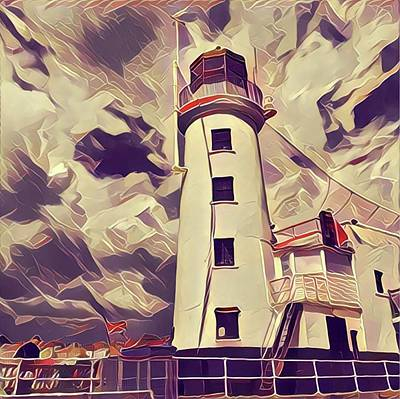Scarborough Painting - Retro Vintage Style Lighthouse by John Springfield