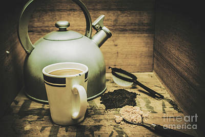 Teapot Photograph - Retro Vintage Toned Tea Still Life In Crate by Jorgo Photography - Wall Art Gallery