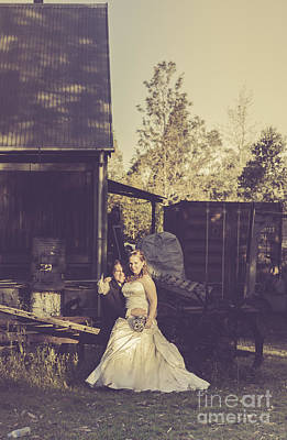 Retro Wedding Couple At Australian Farm Cottage Print by Jorgo Photography - Wall Art Gallery