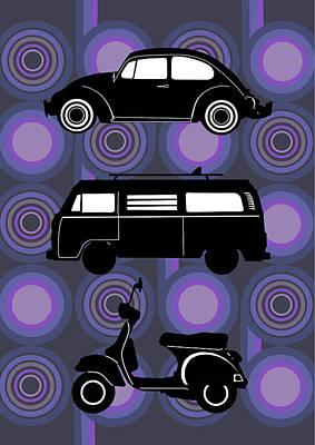Digital Art - Retro Wheels 70s Purple by Bekim Art