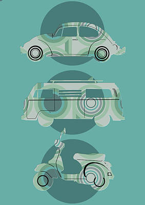Digital Art - Retro Wheels Green by Bekim Art