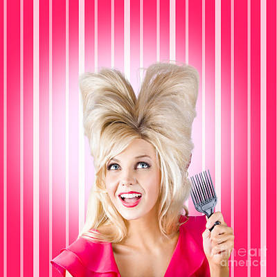 Exuberant Photograph - Retro Woman With Hairstyle Love. Heart Shape Hair by Jorgo Photography - Wall Art Gallery