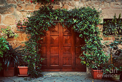 Antique Photograph - Retro Wooden Door Outside Old Italian House In A Small Town Of Pienza, Italy. Vintage by Michal Bednarek