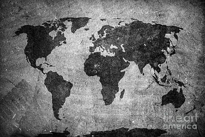 Style Photograph - Retro World Map On Concrete, Plaster Wall. Vintage, Grunge Background by Michal Bednarek