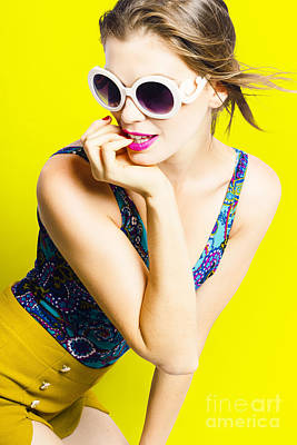 Retro Yellow Fashion Portrait  Art Print by Jorgo Photography - Wall Art Gallery