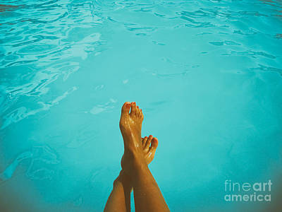 Pool Photograph - Retro Young Girl Relaxing Her Feet At Swimming Pool by Radu Bercan