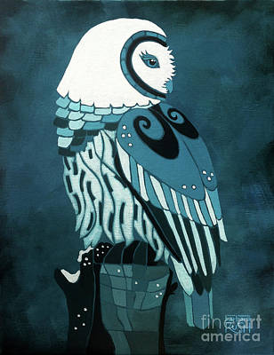 Painting - Retrospect In The Moonlight Owl by Barbara Rush