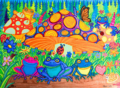 Whimsical Wildlife Drawing - Return To Happy Frog Meadow by Nick Gustafson