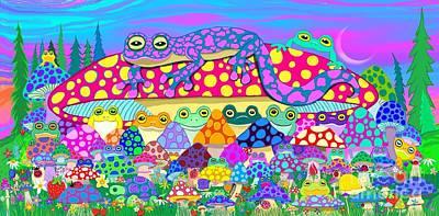 Salamanders Digital Art - Return To Mushroom Meadow by Nick Gustafson