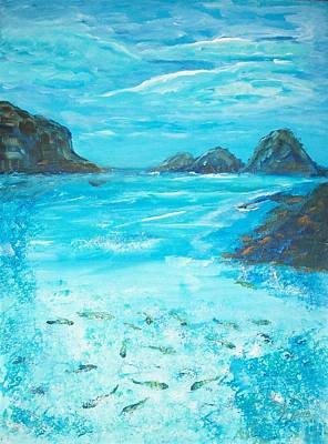 Tropical Fish Painting - Return To The Blue Lagoon by Mary Sedici