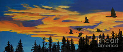 Canadian Geese Painting - Return To The Estuary by Stanza Widen