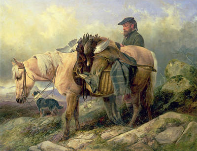 Returning From The Hill Art Print by Richard Ansdell