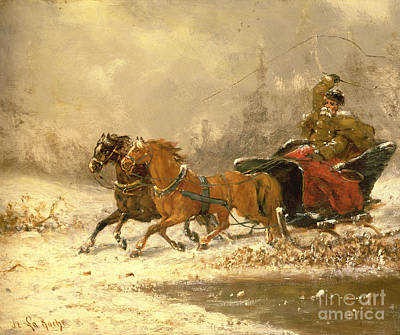 Returning Home In Winter Art Print by Charles Ferdinand De La Roche