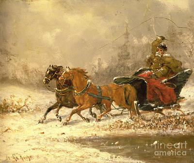 Snowy Scene Wall Art - Painting - Returning Home In Winter by Charles Ferdinand De La Roche