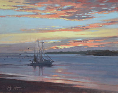 Shrimp Boat Painting - Returning With The Catch by Todd Baxter