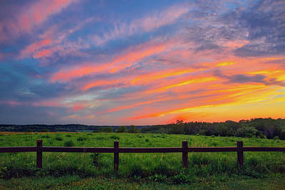 Photograph - Retzer Nature Center - Summer Sunset Over Field And Fence by Jennifer Rondinelli Reilly - Fine Art Photography