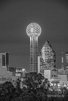 Dallas Skyline Photograph - Reunion Tower Bw by Tod and Cynthia Grubbs