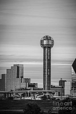 Reunion Tower In Black And White Art Print by Tod and Cynthia Grubbs