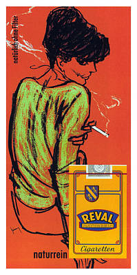 Mixed Media - Reval Cigaretten Naturrein - Vintage Tobacco Advertising Poster by Gerd Grimm - Imperial Tobacco by Studio Grafiikka