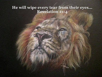 Tears Drawing - Revelation 21_4 Quote by Tami Hughes