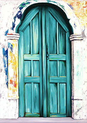 Door Painting - The Doors Of Santorini - Blue Hue Teal by Mary Grden Fine Art Oil Painter Baywood Gallery
