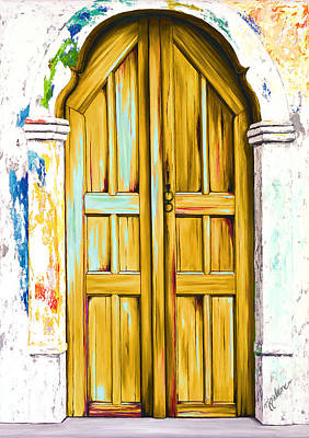 White Painting - The Doors Of Santorini - Golden by Mary Grden's Baywood Gallery