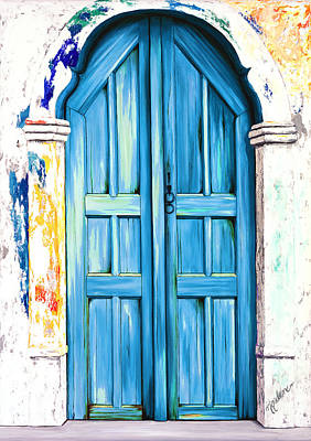 Realistic Painting - The Doors Of Santorini - Prints Of Original Oil Painting - True Blue  by Mary Grden Fine Art Oil Painter Baywood Gallery
