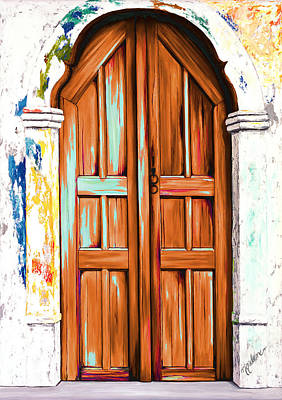 The Doors Of Santorini - Chocolate Art Print by Mary Grden Fine Art Oil Painter Baywood Gallery