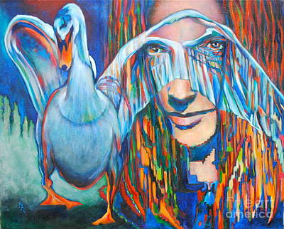 Leda And The Swan Painting - Revenge-550 by Mirinda Reynolds