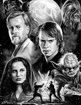 Science Fiction Drawings - Revenge of the Sith bw by Andrew Read