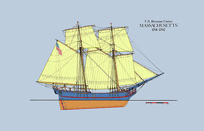 Affordable Drawing - Revenue Cutter Massachusetts In Color by Jerry McElroy