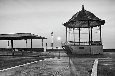 Photograph - Revere Beach Bandstand At Sunrise Revere Beach Black And White by Toby McGuire