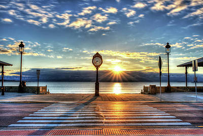 Revere Beach Clock At Sunrise Angled Long Shadow Revere Ma Art Print