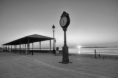 Photograph - Revere Beach Clock At Sunrise Revere Ma Black And White by Toby McGuire