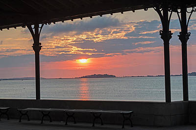 Photograph - Revere Beach Sunrise Revere Ma Clouds Bench by Toby McGuire
