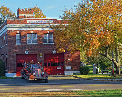 Photograph - Revere Fire Station Revere Ma In Autumn Fire Truck by Toby McGuire