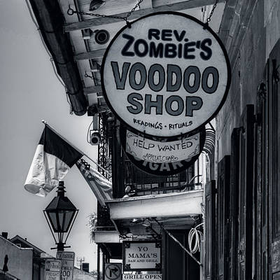 Reverend Zombie's House Of Voodoo In Black And White Art Print by Chrystal Mimbs