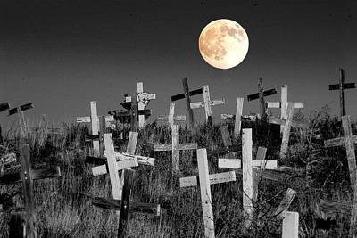 Cemetary Photograph - Reverent Moonlight.... by Al  Swasey
