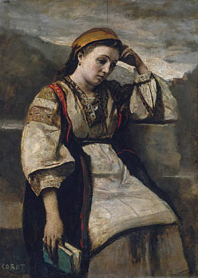 Portrait Painting - Reverie by Camille Corot