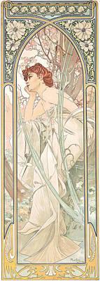Art Nouveau Drawing - Reverie Du Soir by Alphonse Marie Mucha