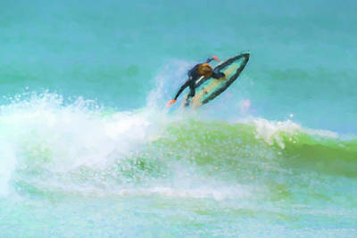Clemente Photograph - Reverse Up Surfing Watercolor by Scott Campbell