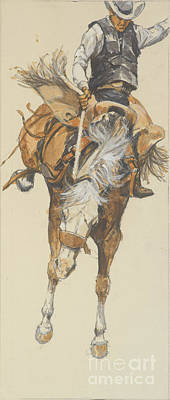 Bucking Bronco Painting - Revised Bucking Horse by Don Langeneckert
