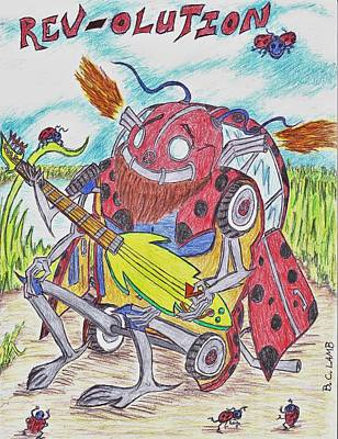 Vw Beetle Drawing - Revolution by Bryant Lamb