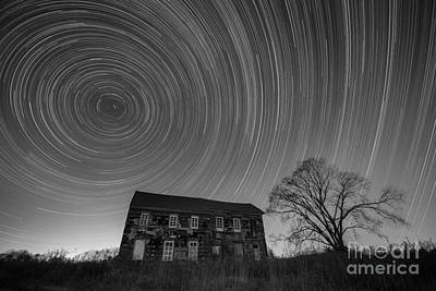 Freehold Photograph - Revolutionary War House Star Trails Bw by Michael Ver Sprill