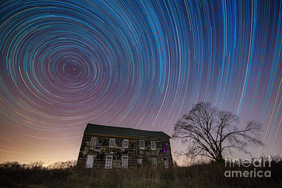 Michael Versprill Photograph - Revolutionary War House Star Trails by Michael Ver Sprill