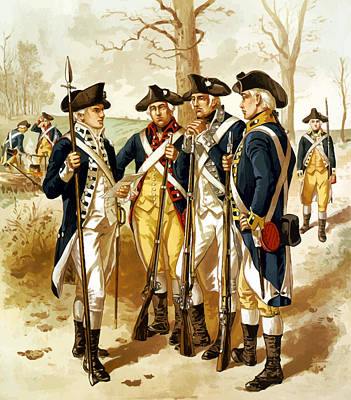Landmarks Painting Royalty Free Images - Revolutionary War Infantry Royalty-Free Image by War Is Hell Store