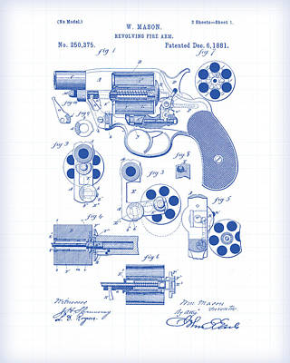 Painting - Revolver Patent Drawing 2 by Gary Grayson